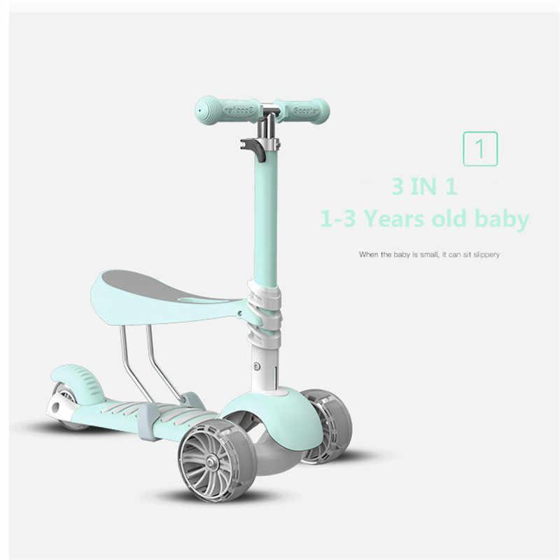 3 In 1 Anak Skuter Baby Walker Roda Tiga Dilepas Kursi Orang Dewasa Anak Kick Scooter Lipat Kesehatan Bayi olahraga