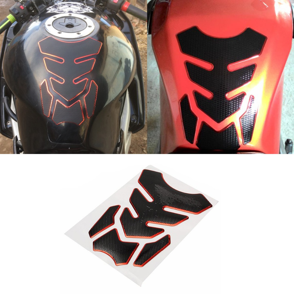 Mofaner Universal Red Motorcycle Motorbike 3D Rubber Sticker Gas Fuel Oil Tank Pad Protector Cover Decals For Kawasaki For Honda