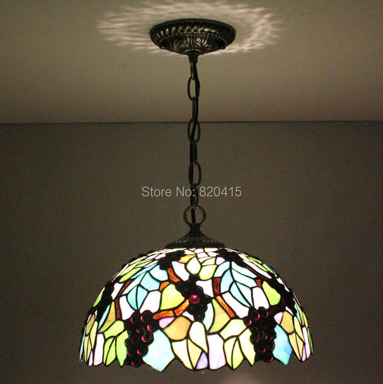 12 inch tiffany style stained glass grapes pendent lights luster mini christmas wedding decoration lamps lanterns kitchen - Broadway Lighting store