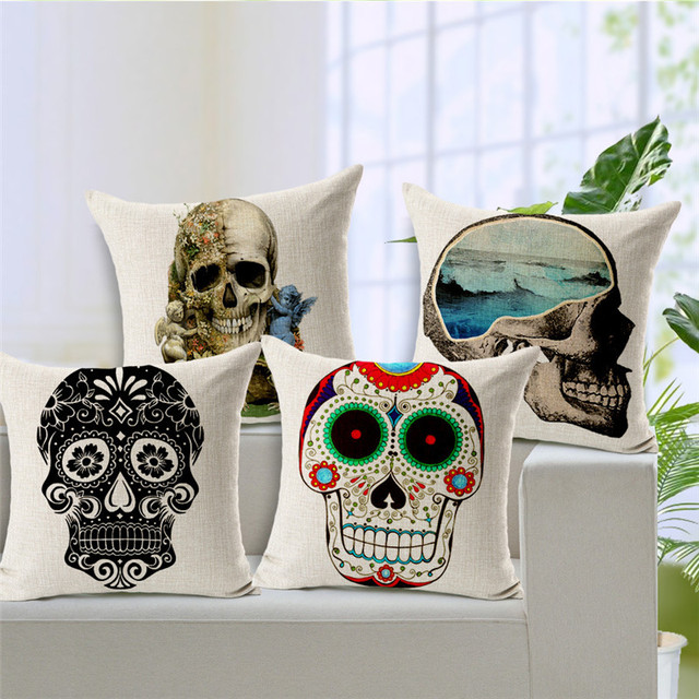 Cuscino personalizzato Foto Messicano Cranio Oceano Coperture Dell'ammortizzator