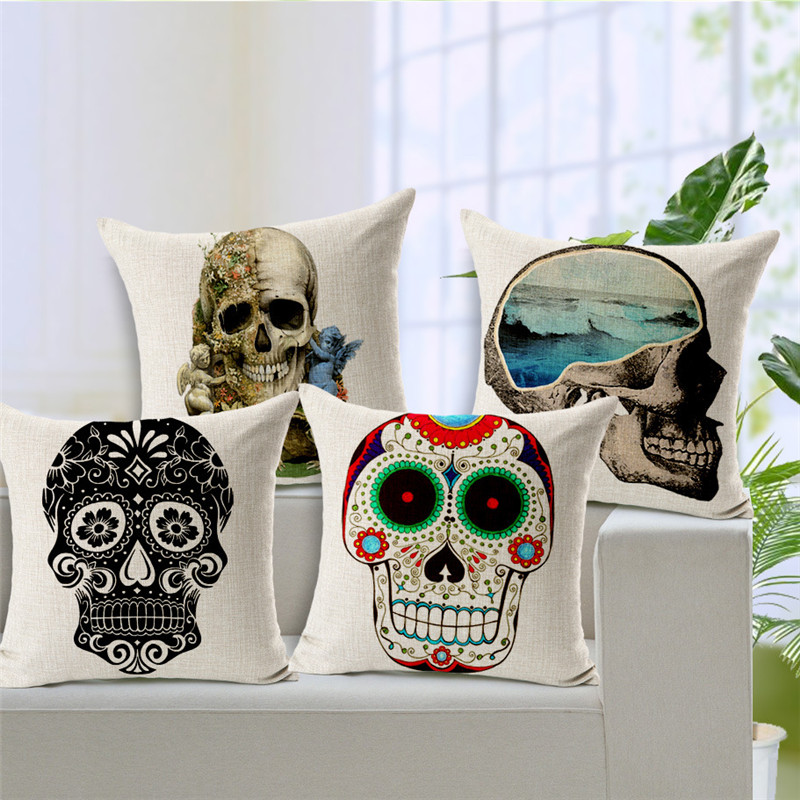 Customized Pillow Photo Mexican Skull Ocean Cushion Covers Travesseiro Recliner Small Linen Replacement Day Of The Dead Skull