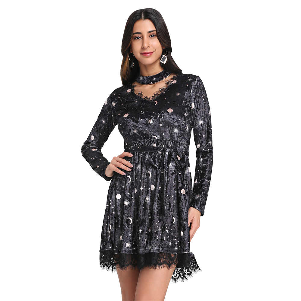 Wipalo na moda decote em v manga longa gargantilha emendado laço com cinto lua impressão feminino vestido de veludo robe feminino inverno