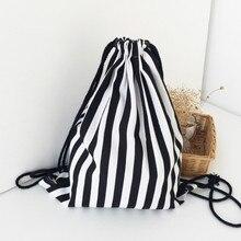 Drawstring Backpack Canvas Black White Stripe Pattern Large Storage Bag Travel Casual Teenagers Backpacks
