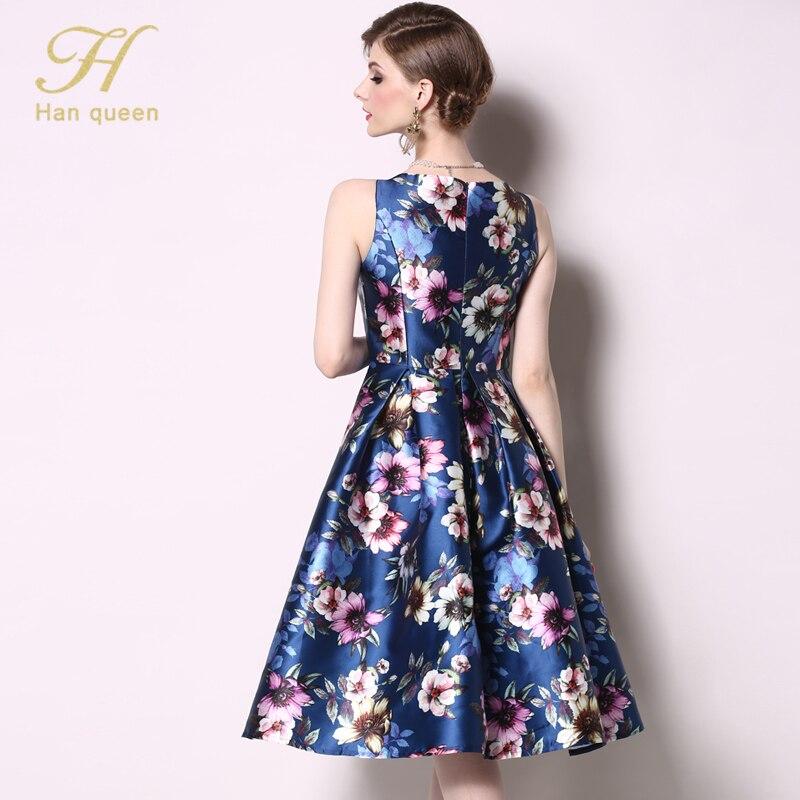 Image 2 - H Han Queen New Arrival 2019 Spring Vintage Sleeveless Jacquard  Dress Slim A Line Party O neck Knee length VestidosDresses   -