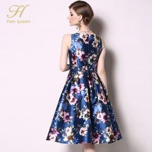 Image 2 - H Han Queen vestido de primavera Vintage sin mangas, Jacquard, ajustado, corte en A, cuello redondo, hasta la rodilla, novedad de 2019