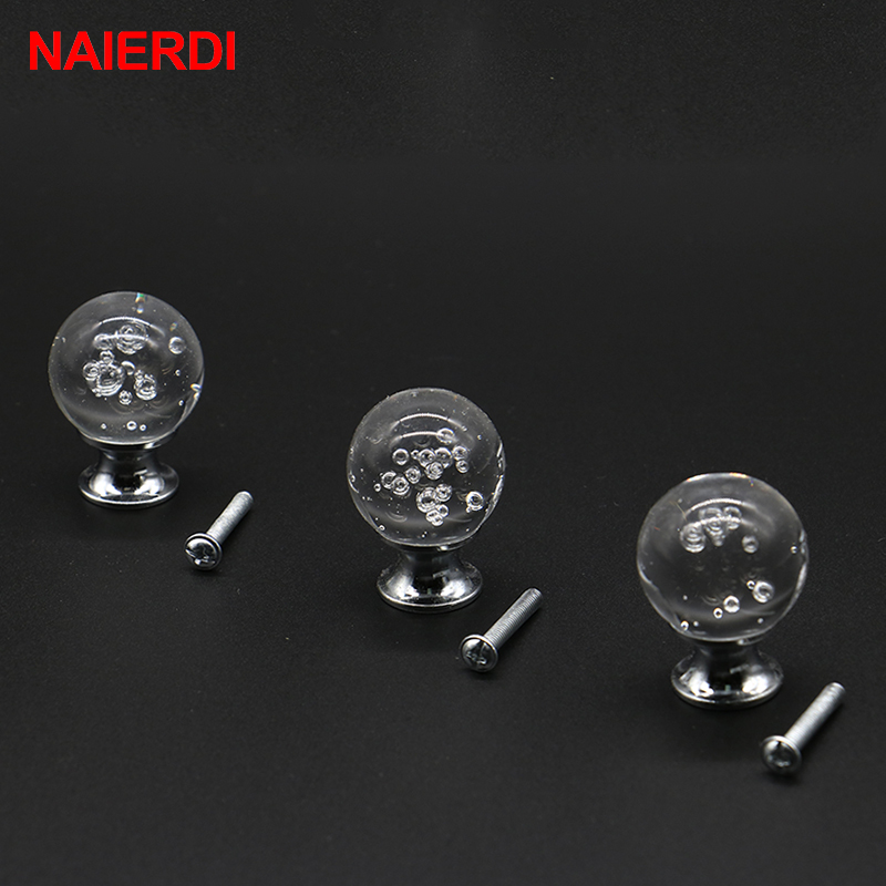 5PCS NAIERDI 30mm Bubble Handles Crystal Glass Knobs Cupboard Drawer Pull Kitchen Cabinet Wardrobe Handle For Furniture Hardware 10 pcs 30mm diamond shape crystal glass drawer cabinet knobs and pull handles kitchen door wardrobe hardware accessories