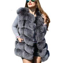 Fashion Silver Fox Fur Vest Elegant Long Faux Coat Gray Black Womens Autumn & Winter Outwear Jacket Chaqueta Mujer