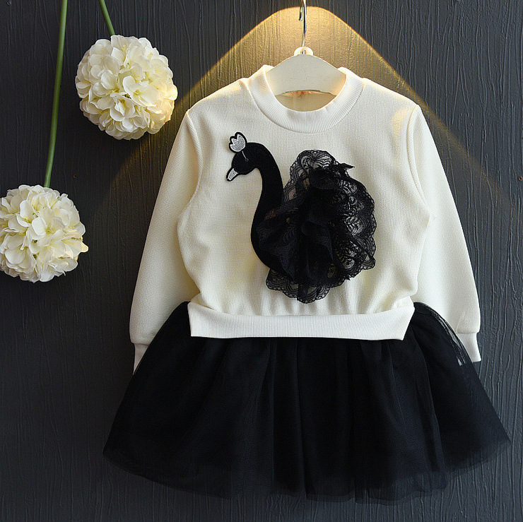 Little Girls Skirt Lace Floral Clothing Set Baby Kids Girl Long Sleeve Swan Tulle Skirts Outfits Costume 3-7T Clothes pettigirl girls clothes set golden silk floral summer skirt with coat for girl kids costume cs90324 724f