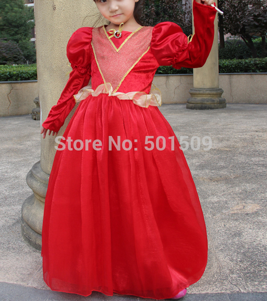 children girls red medieval dress Renaissance Gown Victorian Gothic/Marie Antoinette/civil war/Colonial Belle Ball