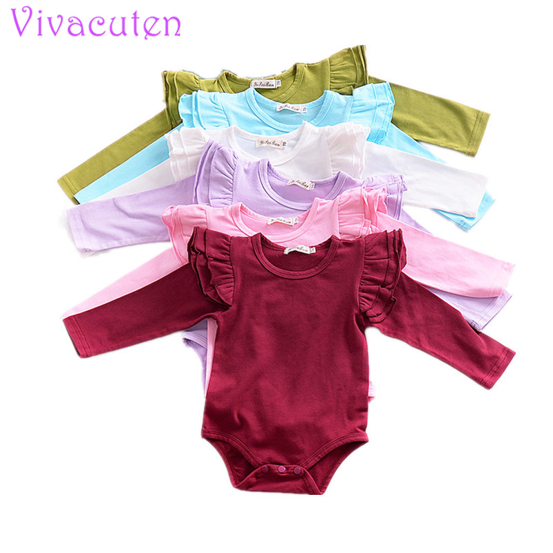 Baby Rompers Long Sleeve 2018 Spring Infant Girls Jumpsuit Solid Flutter Sleeve Cute Princess Toddler Clothes 0-3 Years tiered flutter sleeve top