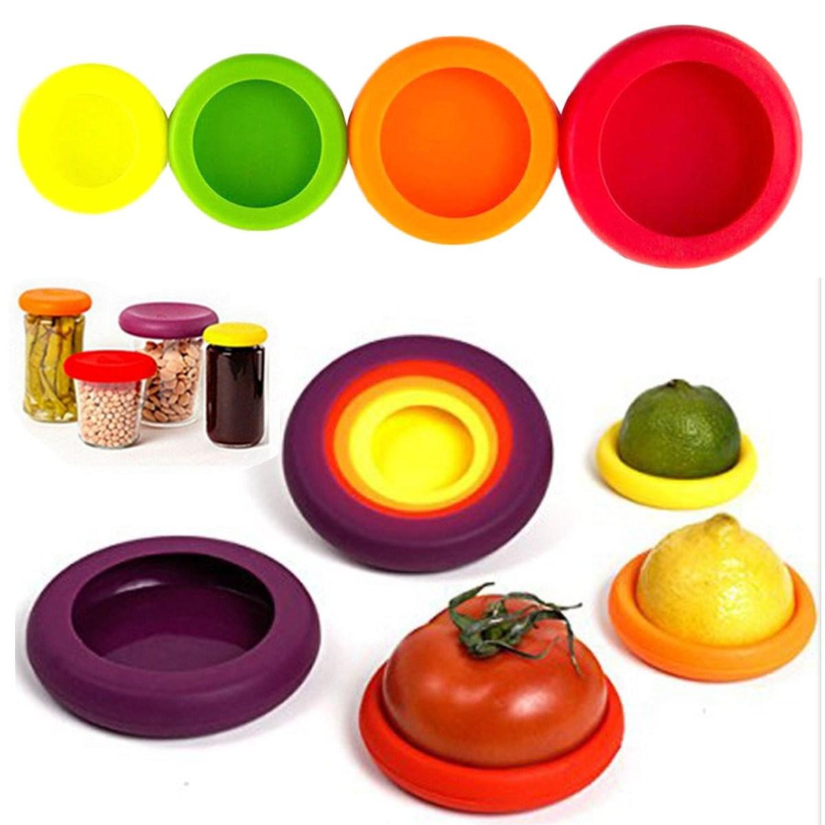 Frutas y Hortalizas de silicona Contenedor de Alimentos Huggers 4 Unids/set Alim