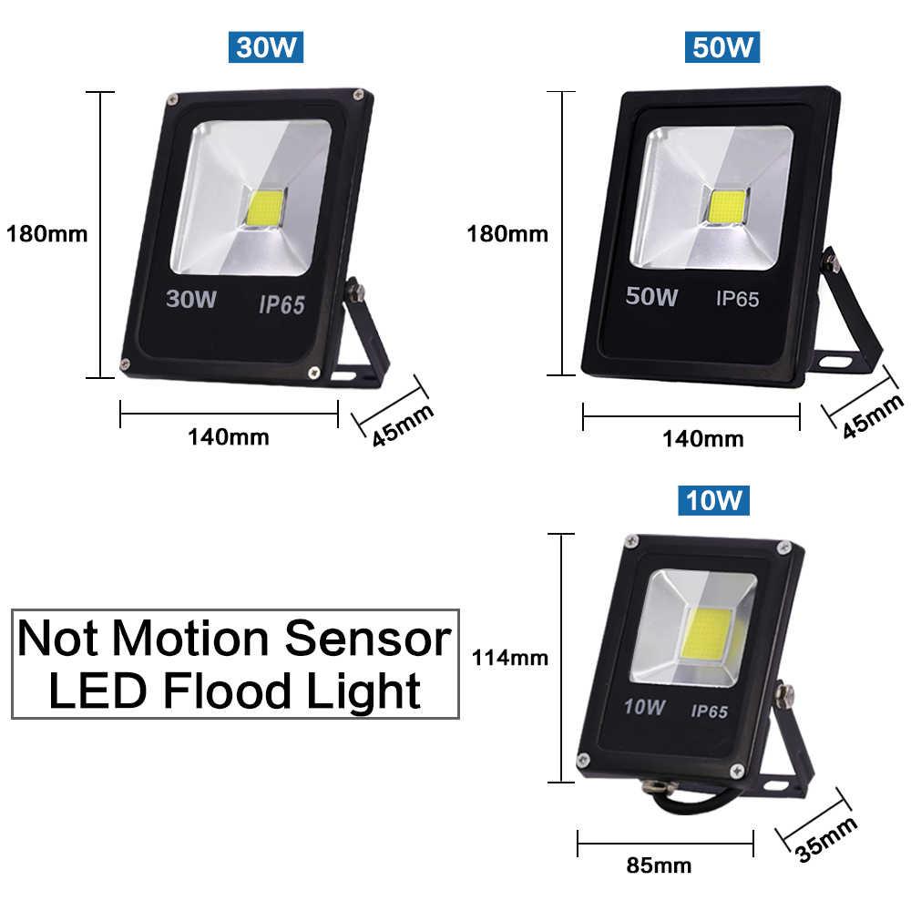 Sensor de movimiento LED Luz de inundación 10W 30W 50W al aire libre LED Spotlight Floodlight AC 220V 240V IP65 lámpara de iluminación impermeable del proyector