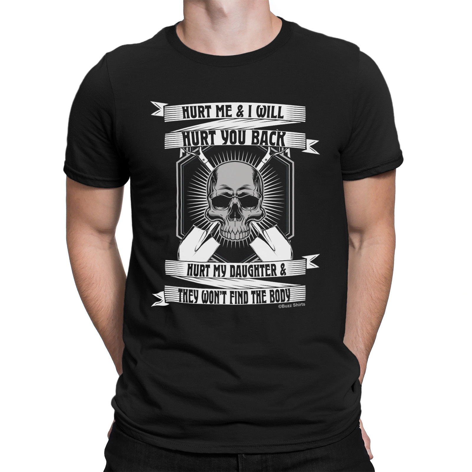 a304b336 Hurt Me Skull Daughter Mens T-Shirt Funny Gift Dad Birthday Fathers Day  Daddy Print