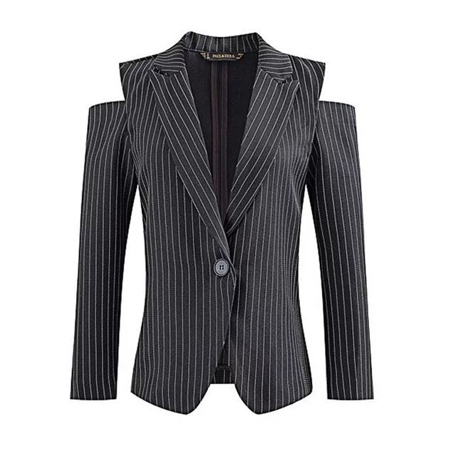 Europe autumn 2016 new women's personality Strapless one button Lapel striped suit jacket slim girl