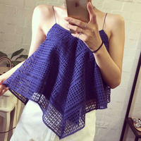 2016 New FAshion Tops Spaghetti Strap Ladies Camisole Blue White Lace Bralette Sexy Tank Top Women