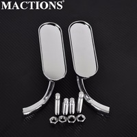 Motorcycle Mini Oval Rearview Mirror Rear View Mirror End Side Mirrors Chrome Sets for Harley Sportster Dyna Softail