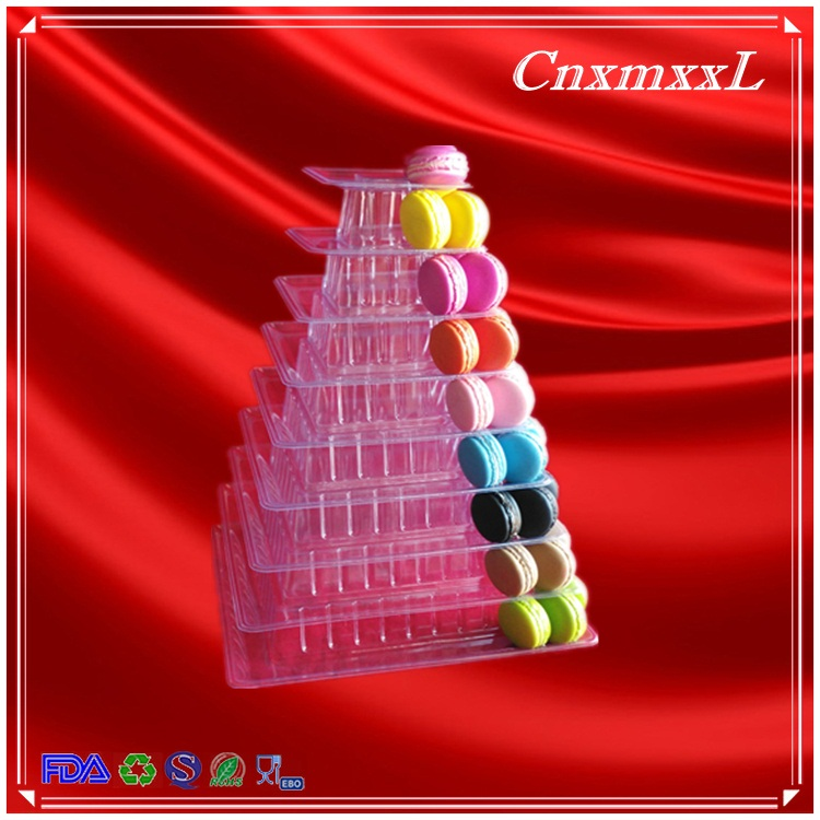 New Premium Christmas tree decoration plastic macarons tower stand manufacturing for 210 pcs display square shape macaron