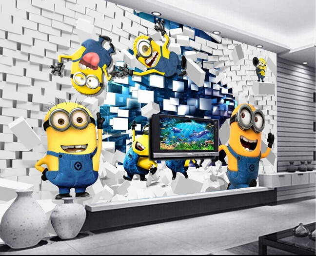 3d wallpaper custom mural non woven 3d room wallpaper minions Creative 3 d setting wall painting