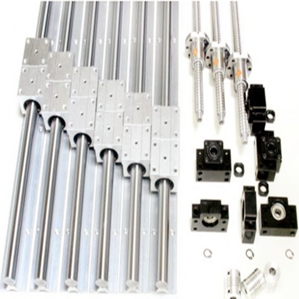 3sets SBR16 rails+3 ballscrews RM1604-850/650/350mm+3sets BK/BF12 +3 couplers linear table