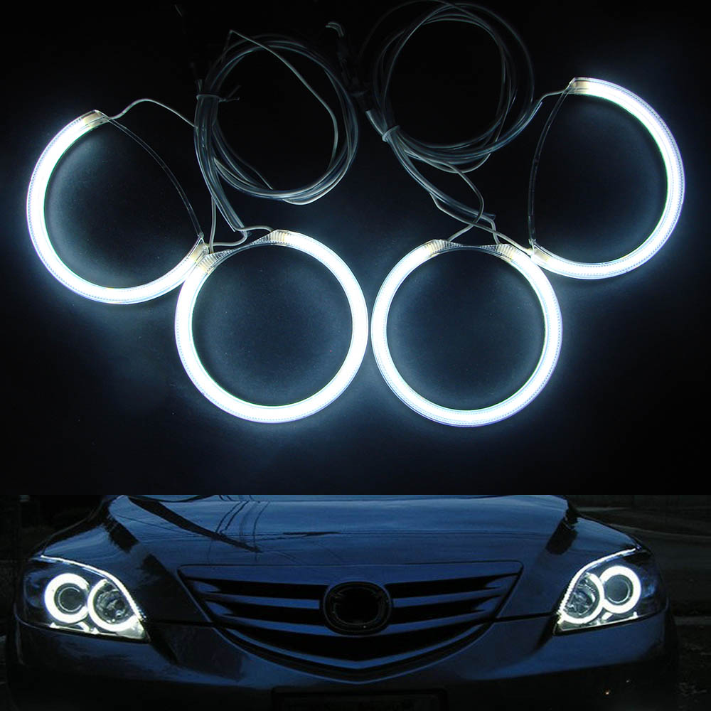 Special fit for Mazda 3 Sedan Hatchback 2004-2008 Headlights 7000K Bright White CCFL Angel Eyes Halo Rings X4 Kit