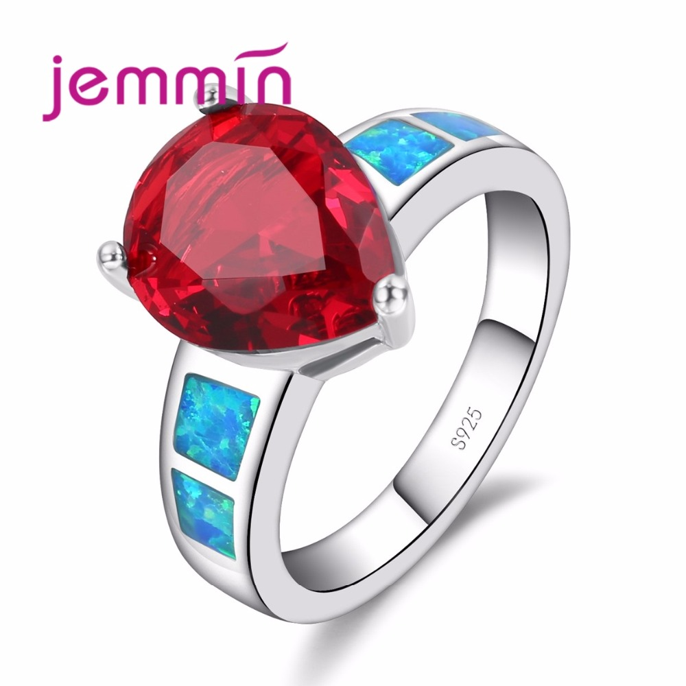 Jemmin Luxury Exaggerate Women Girls Red Water Drop Ring Fashion Blue Fire Opal Band Brilliant 925 Sterling Silver Jewelry
