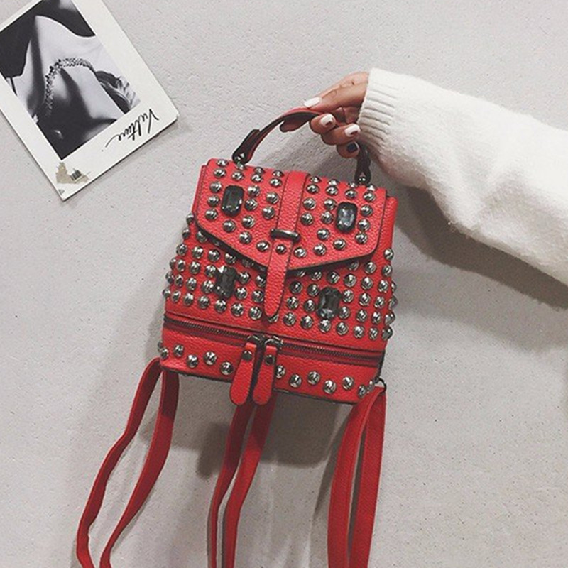 2018 New Women's Bag Rivet Mini Shoulder Bag Female Punk Personality Multi-purpose Backpack Travel Bag