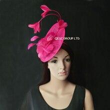 Новинка,, элегантные 10 цветов, ярко-розовые, Sinamay, с перьями, шапка-чародей, женская шляпа для свадьбы, гонок