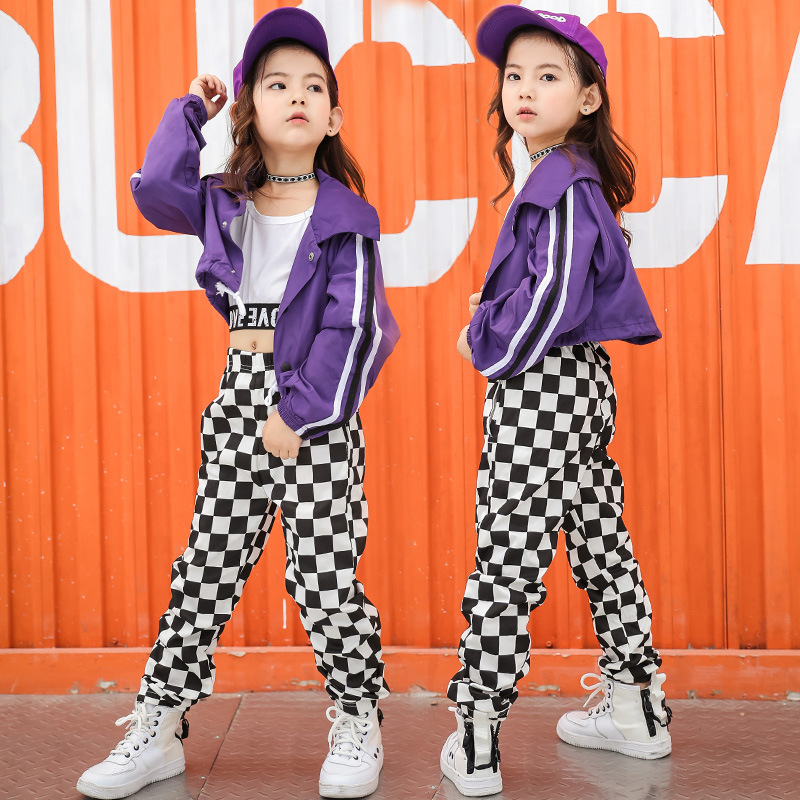 2018 Autumn New Children's Jazz Purple Short Coat European And American Hip Hop Loose Street Tide Long Sleeve Jacket Girls