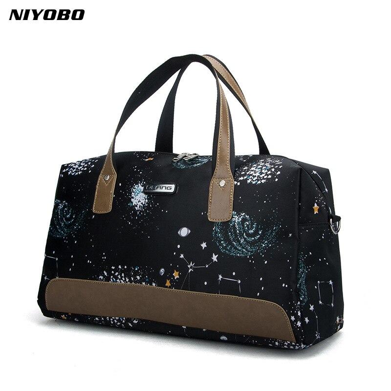 NIYOBO Casual Women Travel Bags Waterproof Oxford Portable Travel Bag Stars Print Female Weekend Bags Large Capacity Travel Tote