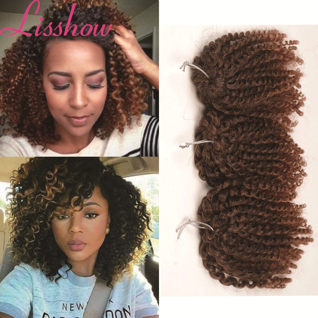 8 Inch Ombre Kinky Curly Hair Weave Browngraypink Synthetic Hair