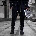 Прохладный Черный/Зеленый корейский хип hop мода брюки с молниями завода связи мужская городская одежда бегунов мужчины