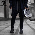 Cool Black/Green korean hip hop fashion pants with zippers factory connection mens urban clothing joggers men