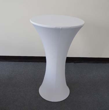 Free Shipping 10pcs White Round Based Stretch Bar Table Covers Spandex Lycra Tail For Party Wedding