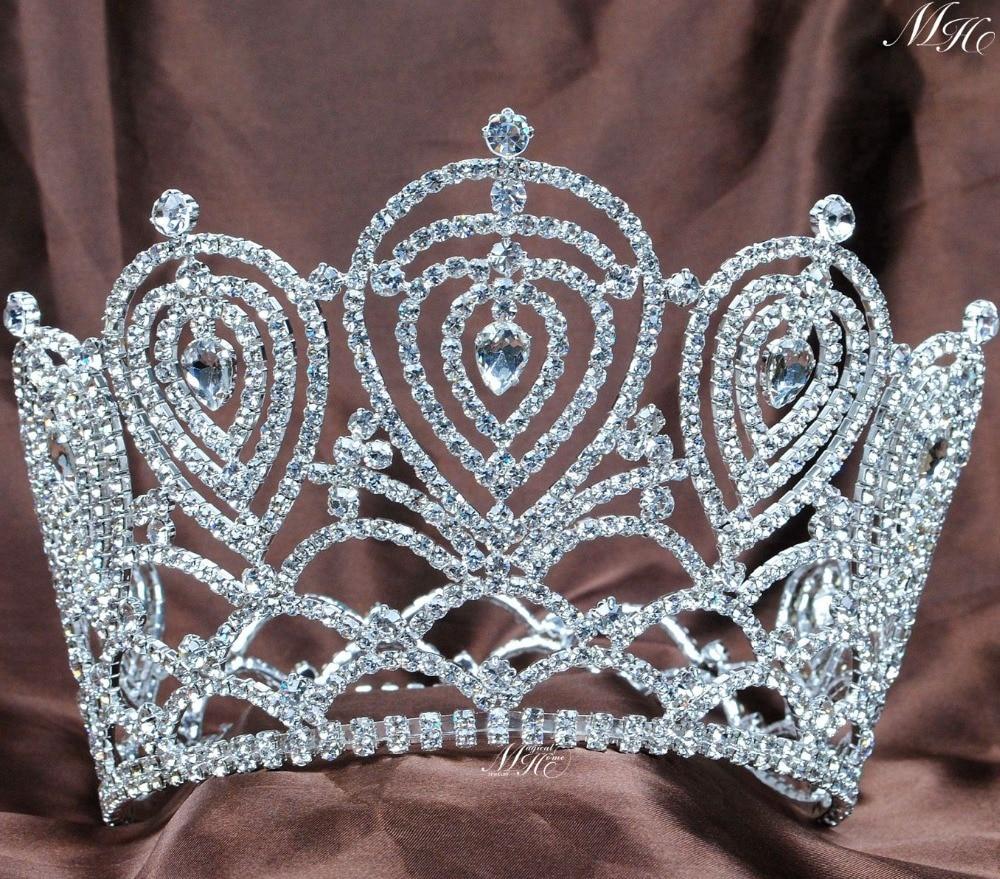 Heart Large Crown Austrian Rhinestone Tiara Handmade Clear Crystal Diadem Wedding Bridal Pageant Prom Party Hair Accessories