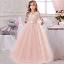 Kwiat dziewczyny urodziny bankiet koronkowa zszywana sukienka elegancka dziewczyna suknia wieczorowa księżniczka kwiat dziewczyny eucharystia sukienka tanie tanio O-neck Kostek Pełna Suknia balowa dress Krepy REGULAR Koronki Łuk Skrzydeł Flower girl dresses Casual