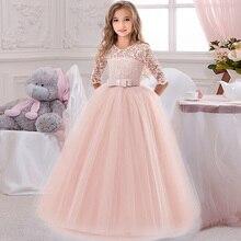Çiçek kız doğum günü ziyafet dantel dikiş elbise zarif kız akşam parti elbise prenses çiçek kız Eucharist parti elbise