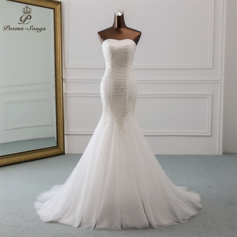 PoemsSongs 2019 New Sexy Luxury Sequined Wedding Dress Robe Mariage  Vestido De Noiva Mermaid Wedding Dresses Robe De Mariee