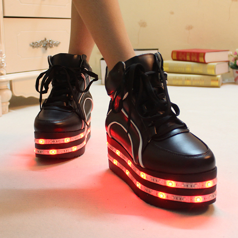 d5288226ee8a4 High top led luminous shoes USB Charge night glowing Shoe for women mesh  flashing adult light up shoes zapatillas mujer zapatos