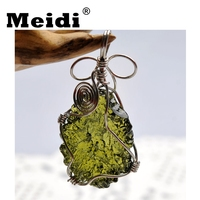 2018 New Moldavite Pendant Necklace Women Men Fashion Natural Stone Green Czech Meteorites Pendants Man Jewelry