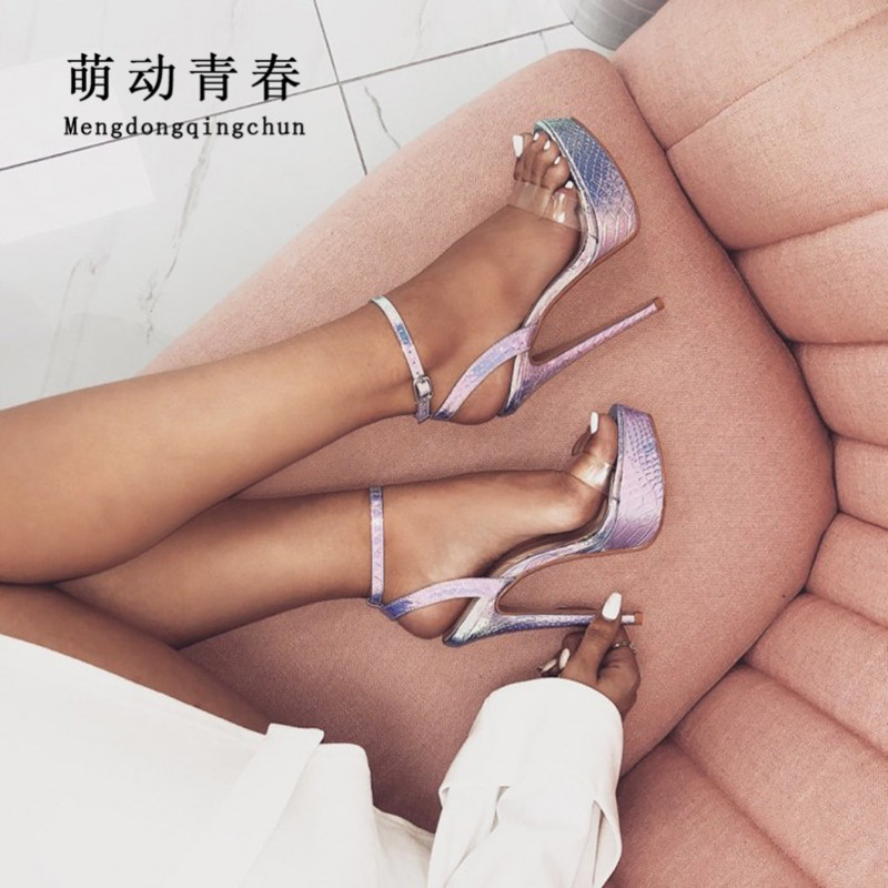 New Design Multicolor Open Toe Women <font><b>High</b></font> Heeled Sandals <font><b>17cm</b></font> Thin <font><b>Heels</b></font> Platform Women Pumps <font><b>Sexy</b></font> PVC Transparents Buckle Pumps image