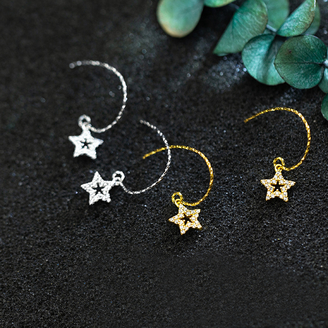 MloveAcc High Quality 925 Sterling Silver CZ Star Drop Earrings for Women Fine Jewelry Gift Your Bestie Dropshipping