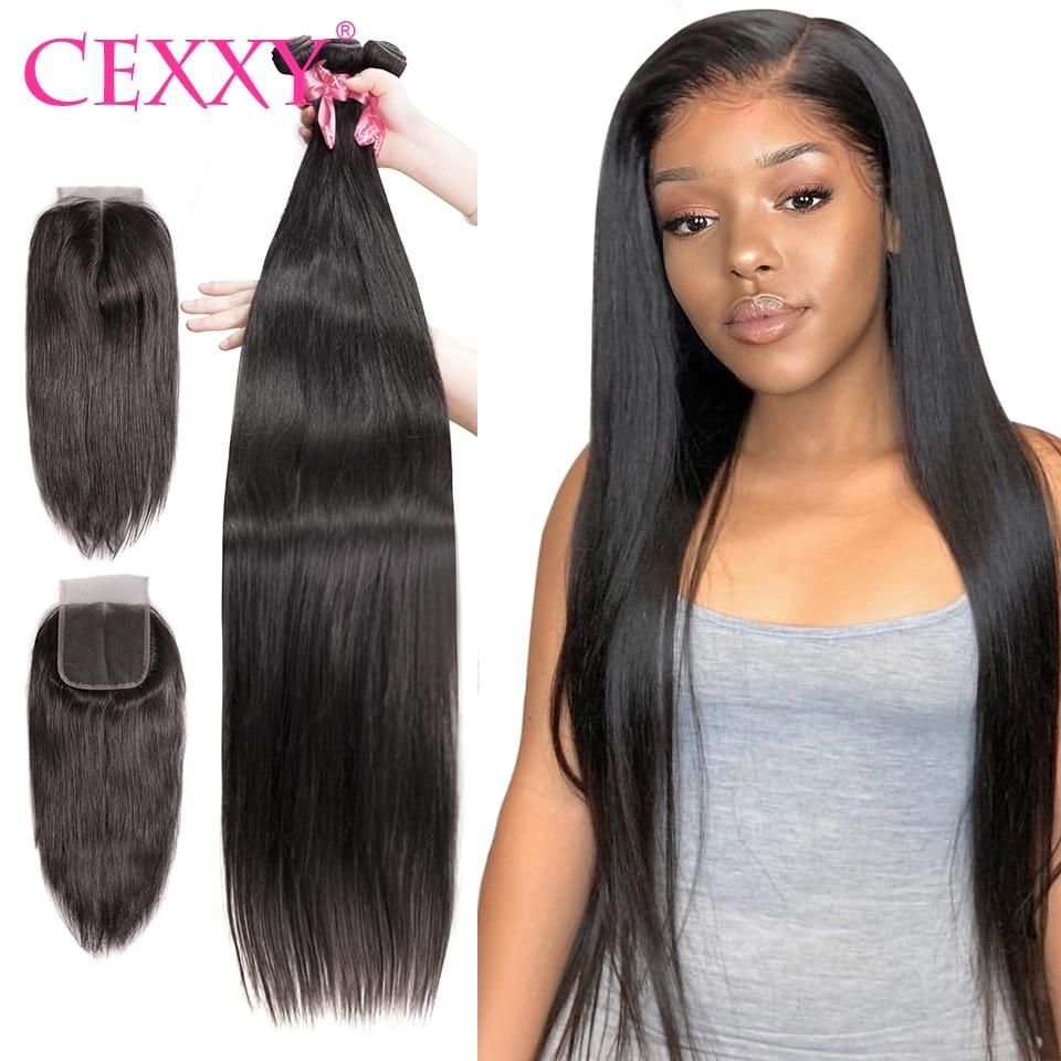 Cexxy Brazilian Human Hair 3/4 Bundles With Closure Raw Virgin Straight 100% Human Hair Extension 28 36 40Inch(China)