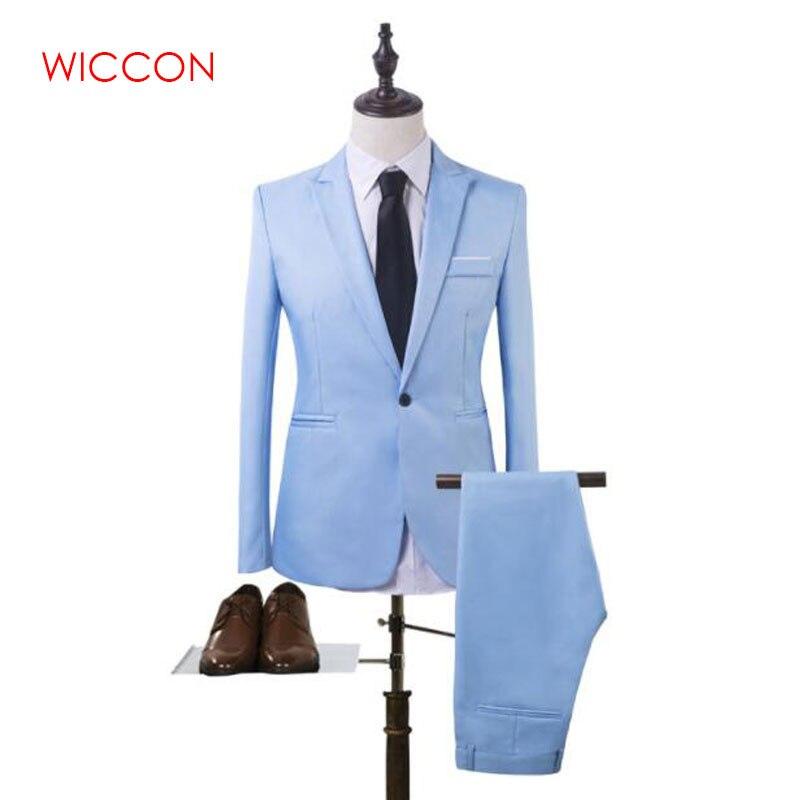 New Fashion Men's Suit Suit Groom Solid Color Wedding Dress White-collar Work Dress Jacket + Pants Suit Casual Suit