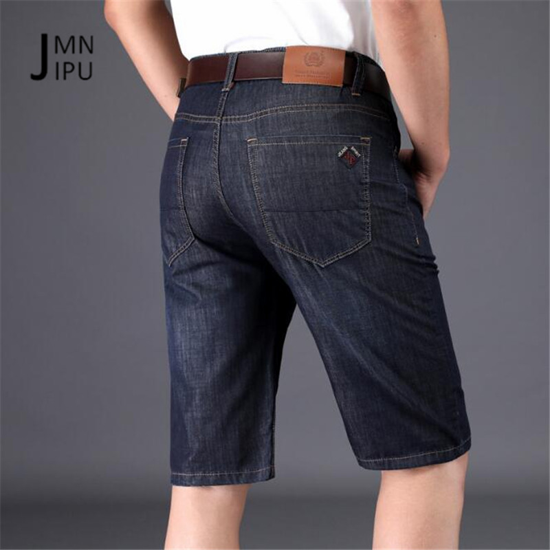 JI PU Black/Blue Male Mid Waist Knee Length Denim Jeans,Summer Mans Active Loose Straight 100% Cotton New Design Deports Jeans