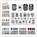 NACIDO PRETTY 12*6 cm Rectángulo Clavo Que Estampa Las Placas Manicura Nail Art Sello Placa de la Imagen Plantilla de Diseño Hermoso Conjunto BP L046-L055