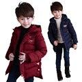 Дети зимние одежда Мальчики хлопок пальто дети С Капюшоном Куртки дети утолщаются верхней одежды повседневная одежда для больших детей 7-13 лет