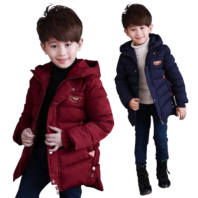 Kids winter clothes Boys cotton coat children Hooded Jackets kids thicken outwear casual clothing for big children 7-13 years free shipping 10pcs an5290s