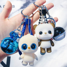 Creative cartoon panda flocking doll keychain female cute car bag key chain ring pendant