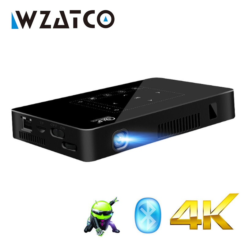 WZATCO P10 Android 2G 16G WIFI Bluetooth avec Support de Batterie 1080 P 4 K Mini Projecteur Maison Intelligente théâtre Poche LED Proyector UF