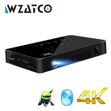 WZATCO P10 Android 2G 16G WI-FI Bluetooth с Батарея Поддержка 1080 P 4 K Мини проектор умный дом Театр Карманный СВЕТОДИОДНЫЙ Proyector UF